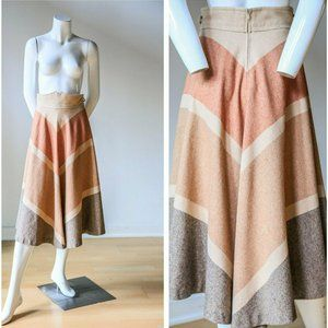 70s Chevron Print High Waist Half Circle Skirt